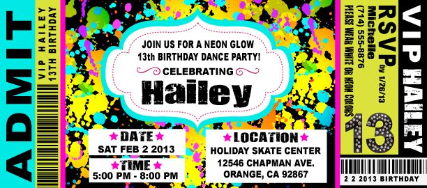 VIP Ticket Neon Glow Birthday Party Invitation