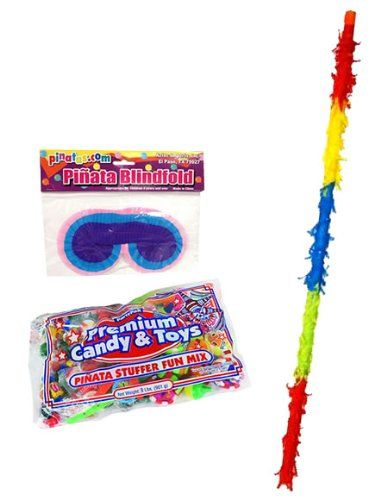 Pinata Party Accesory Kit - 3lb filler, buster bat, blindfold