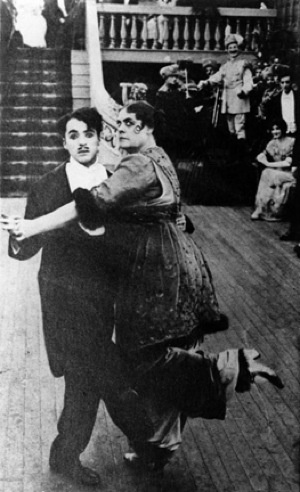 """With Marie Dressler in Keystone Comedie's """"Tillie's Punctured Romance"""" 1914"""