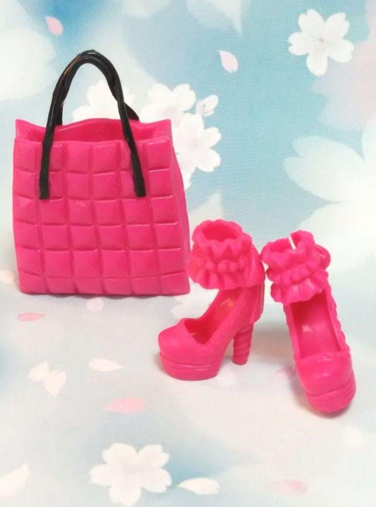 Barbie hangbag and shoes set hot pink Barbie shoes waffle neck highheels