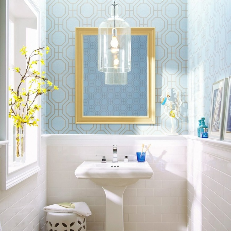 Love the wallpaper. From Home Depot FB page Bathroom