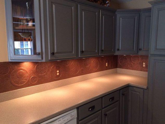 diy kitchen copper backsplash, decoupage, kitchen backsplash, kitchen design, repurposing upcycling, Painted cabinets new hardware and backsplash