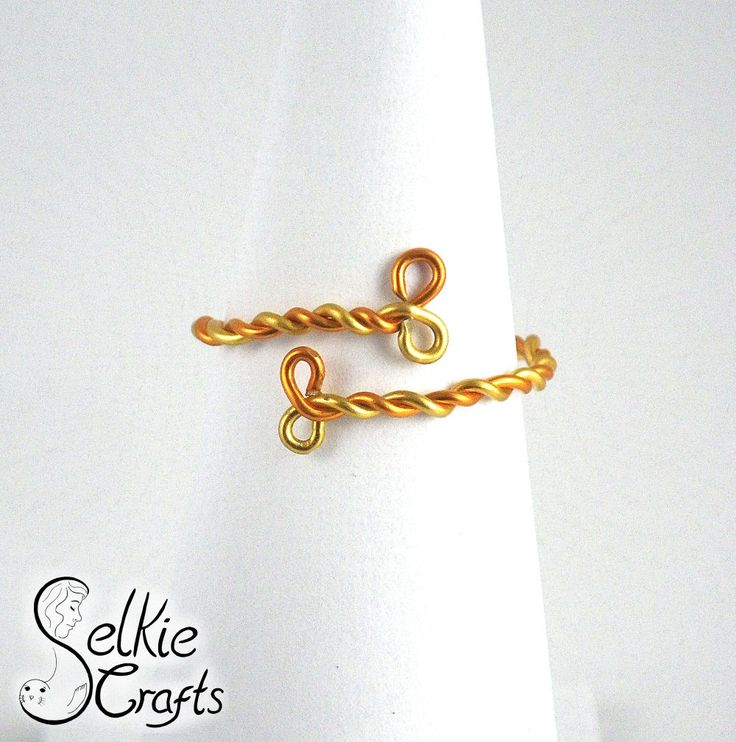 Stackable twist ring in gold and orange, size adjustable. Gift for her. Jewellery (jewelry)  handmade in Scotland.