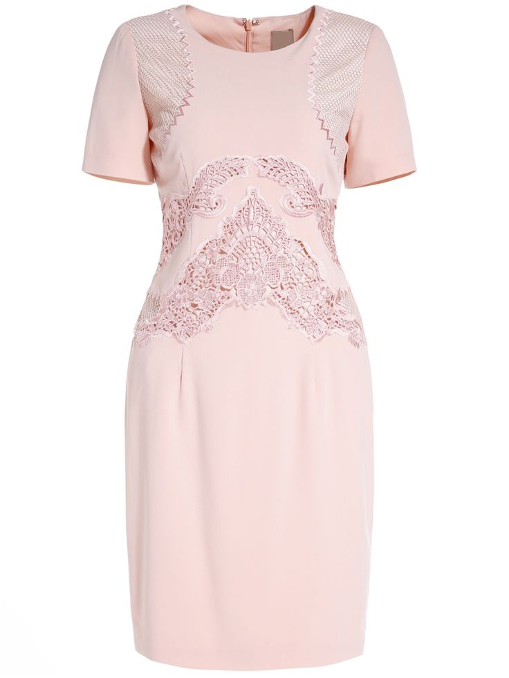 Apricot Round Neck Short Sleeve Hollow Embroidered Dress , High Quality Guarantee with Low Price!