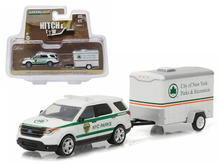 2015 Ford Explorer New York City Department of Parks and Recreation & Small Cargo Trailer Hitch & Tow Series 7 1/64 Diecast Car Model by Greenlight