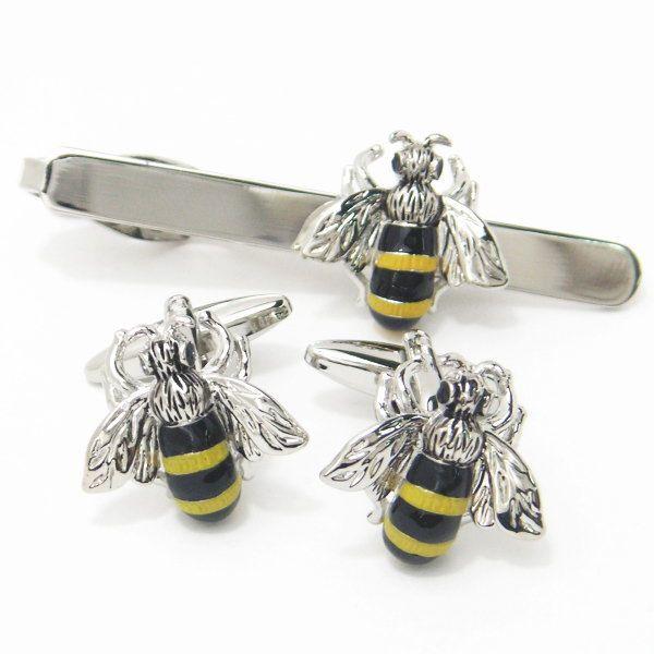 【レビューで送料無料】あっ、ハチが止まってるよ~!!ブンブン蜜蜂のカフスセット(タイピンセット)【カフスマニア】【あす楽対応】【楽ギフ_包装選択】【楽ギフ_メッセ入力】【楽天市場】