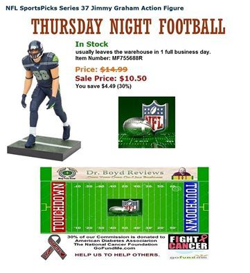 Dr. Boyd Reviews invites you to make your purchases of Action Figures, Plush Figures, Games, Collectables, Memorabilia, Toys, and Bobble Heads. We have the items that Walmart, Target, Toys R Us, Universal, and Disneyland don't carry.  NFL FOOTBALL DAILY DEAL:  NFL SportsPicks Series 37 Jimmy Graham Action Figure http://www.entertainmentearth.com/prodinfo.asp?number=MF75688R&id=GO-412128922