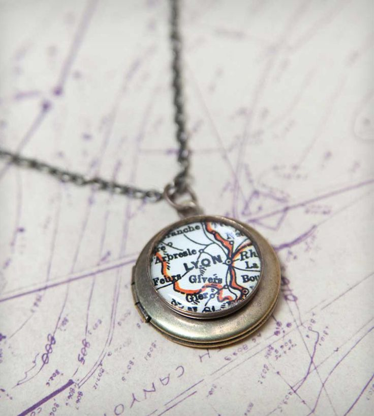 Custom Vintage Map Brass Locket Necklace by The Weekend Store on Scoutmob Shoppe