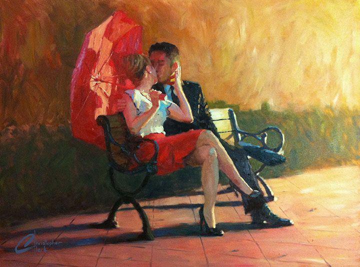 Kiss in the Park II, original  romantic couple oil painting, red umbrella, artist Christopher Clark