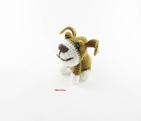 A funny crochet puppy toy is perfect gift for kids. Best for travel. This toy is safe for children under 3 years (do not have any plastic accessories such as eyes etc) Lenght ~ 8 cm (3.2 inches); heigh 8 cm (3.2 inches), width 5 cm (2 inches) Materials - cotton yarn and stuffed with