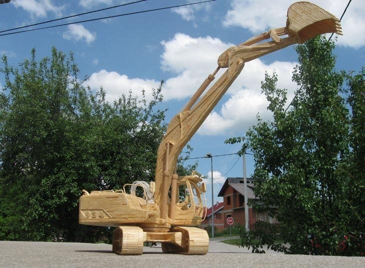 camions en allumettes par djordje balac 17   Des camions en allumettes par Djordje Balac   véhicule industriel Sculpture photo image Djordje Balac camion allumette