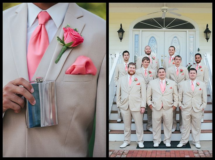 coral wedding, pink wedding, nautical wedding, tan suits, tan tuxedos, Weatherly Farm Wedding, Birds of a Feather Photography, Elite Beatz, Bailey's Catering