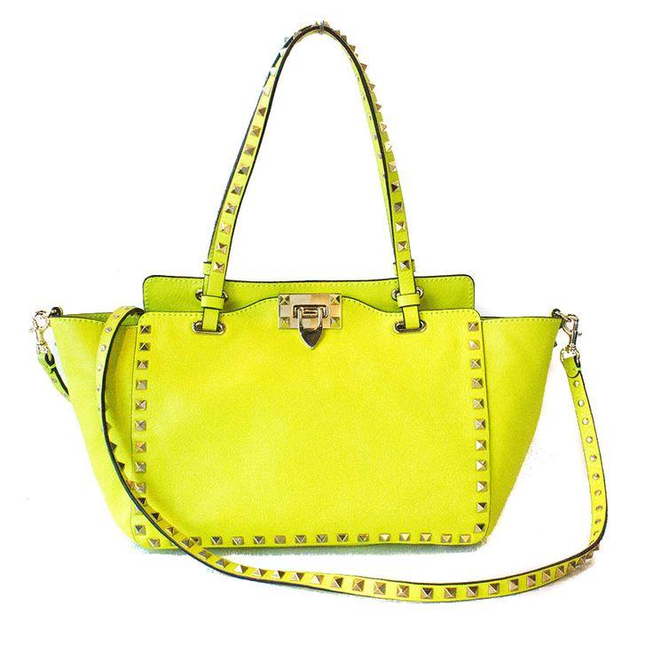 Valentino Fluo Yellow Rockstud Tote Bag