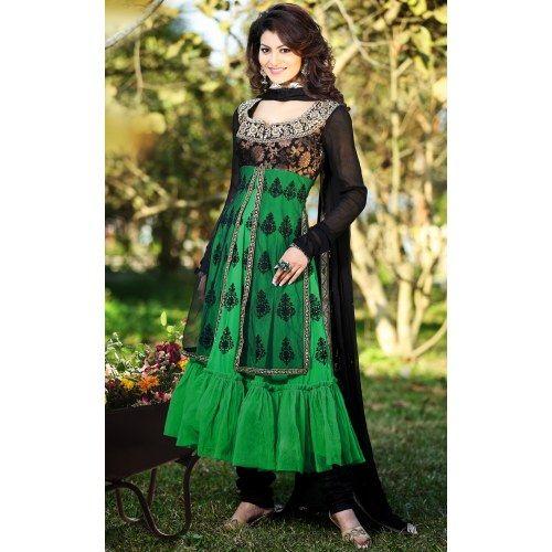 Indian Designer Ethnic wear Gorgeous Look Stunning Green & Black Anarkali Salwar Suit - Online Shopping for Salwar Suit by Manjulata Creations