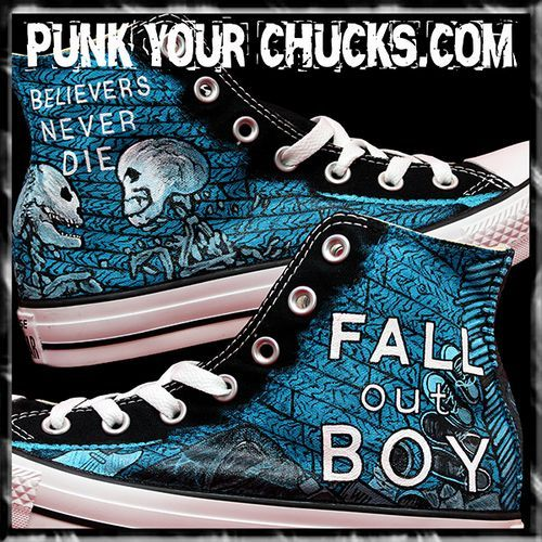 Fall Out Boy Custom Converse Sneakers, I have got to make these at home ♡