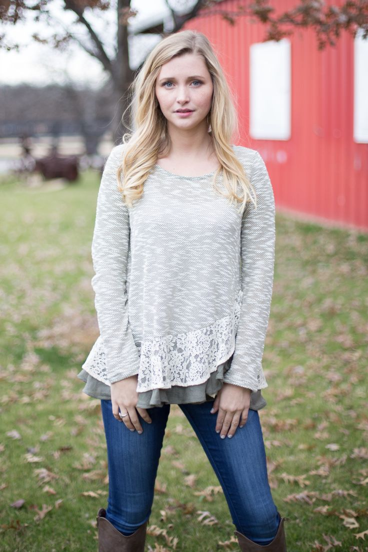 Fun and Frilly Blouse with Lace Detail, Olive