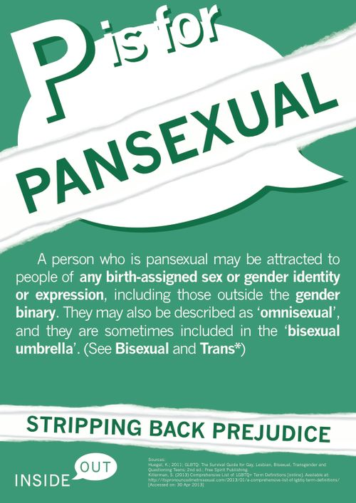 "P is for Pansexual ""A person who is pansexual may be attracted to people of any birth-assigned sex or gender identity or expression, including those outside the gender binary. They may also be described as 'omnisexual,' and they are sometimes included in the 'bisexual umbrella.' (See bisexual and trans*)"""