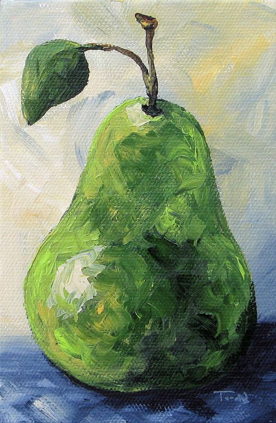 The Pear Chronicles 012 4 x 6 Original Painting on Gallery Wrapped Canvas by Torrie Smiley