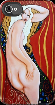 Cool Original Art Work Inspired By Gustav Klimt, Brett Whitely & Alphonse Mucha iphone 4 4s, iPhone 3Gs, iPod Touch 4g case.