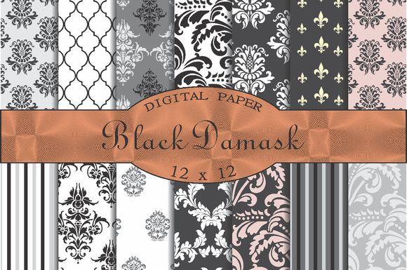 Black damask patterns by Kiwi Fruit Punch on @creativemarket