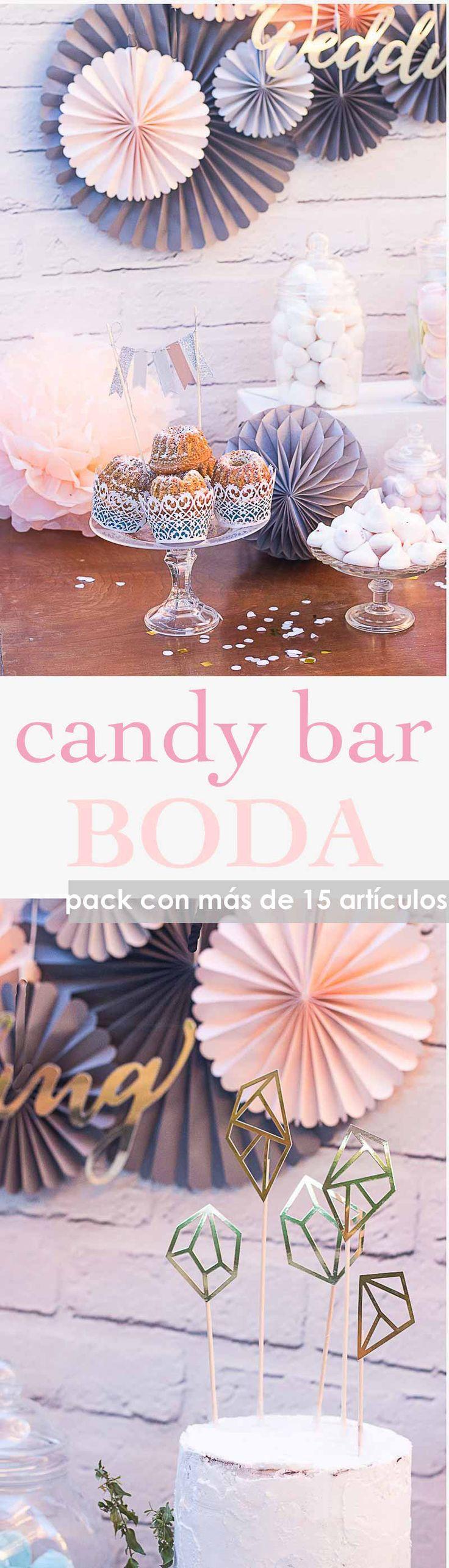 Candy bar para bodas. Mesa dulce boda . Set de decoración para candy bar bodas con más de 15 artículos. #candybar #wedding #mesadulce #bodas #mesadulceboda