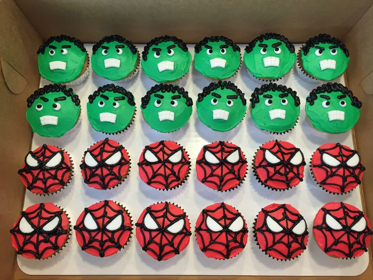 Hulk & Spiderman cupcakes