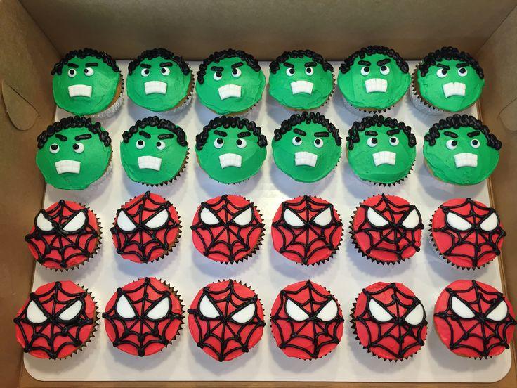 Hulk & Spiderman cupcakes