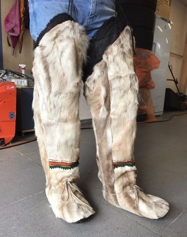 Extreme Cold Weather Winter Moccasins Boots Shoes Inuit Natural fur of reindeer #Unbranded #SnowWinter