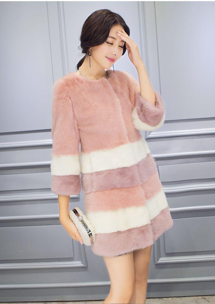 2015 норки куницу пальто женский средней длины длинные купить на AliExpress