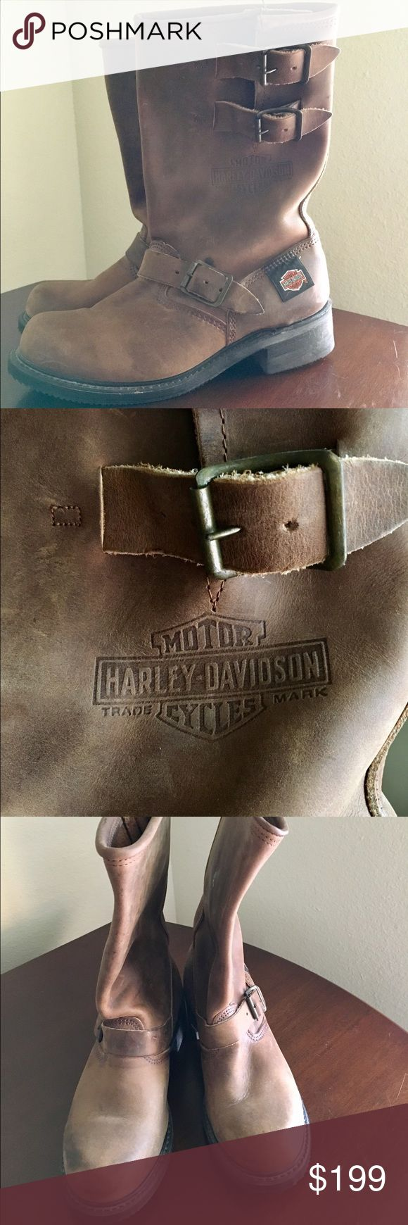 Harley -Davidson Motorcycle Riding Boots Harley -Davidson Motorcycle Riding Boots- Engineer Boots with Double Buckles.  Worn twice. They are men boots and is a size 7. I am a woman and wear a size 9/ 9.5 depending on the brand/ designer. They look unisex to me. I've seen many women wear them and look great in them. I prefer to wear my black Harley Davidson wedges boots- I prefer a more feminine look. They're in EXCELLENT condition with their original sole. Priced to sell. SERIOUS Inquiries…