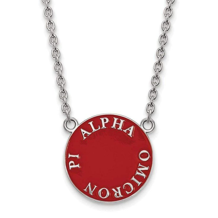 Sterling Silver LogoArt Alpha Omicron Pi Small Enl Pend w/Necklace