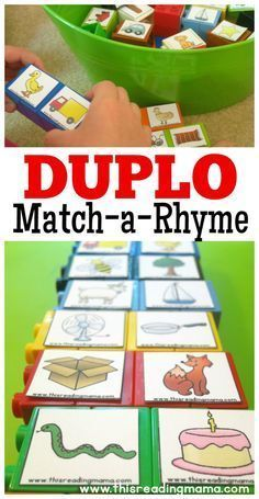 DUPLO Rhyming Word Matching - with FREE Rhyming Pictures | This Reading Mama