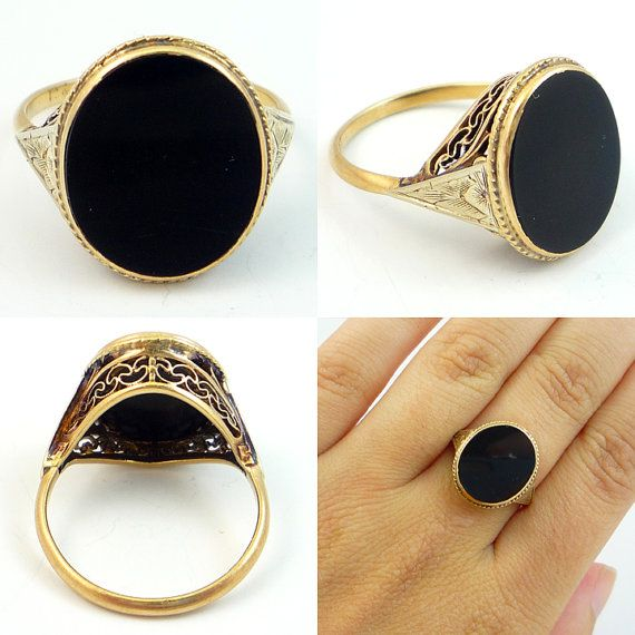 10K Antique Art Deco Two Toned Filigree Black Onyx Ring from Etsy, $229