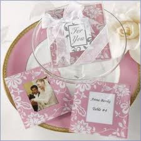 Timeless Tradition Elegant Pink Glass Photo Coaster Favour