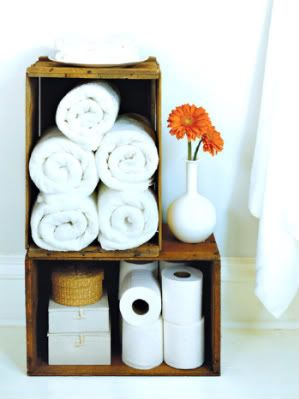 wooden crates - line with craft paper or liners to match bathroom!