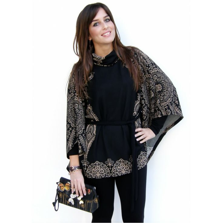 Black Robbi Smash Poncho