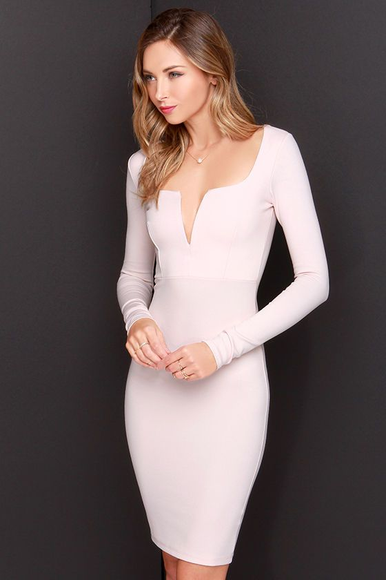 LULUS Exclusive Chic and Loving It Pale Blush Midi Dress at Lulus.com!