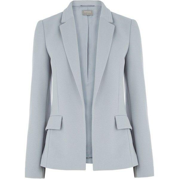 Oasis Ponte Ottoman Blazer ($50) ❤ liked on Polyvore featuring outerwear, jackets, blazers, blazer, grey, women, ponte knit blazer, oasis jackets, grey jacket and grey blazer