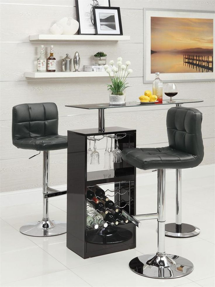 "47"" Contemporary Black Glass Bar Counter 