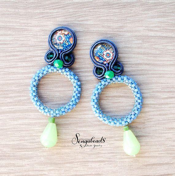 Soutache earrings with beadworked rings. Soutache by Sengabeads