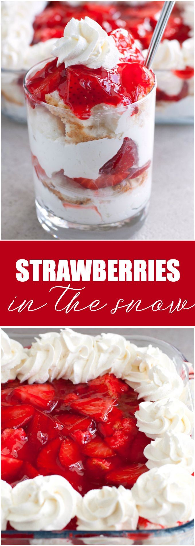 Strawberries in the Snow - Light angel food cake is layered on cream and covered in strawberries. A wonderful dessert to serve at a spring or summer gathering.