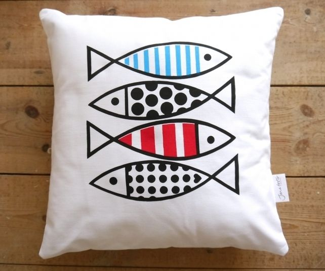 New Scandi Screen Printed Fish Cushion by Jane Foster - Retro Nautical