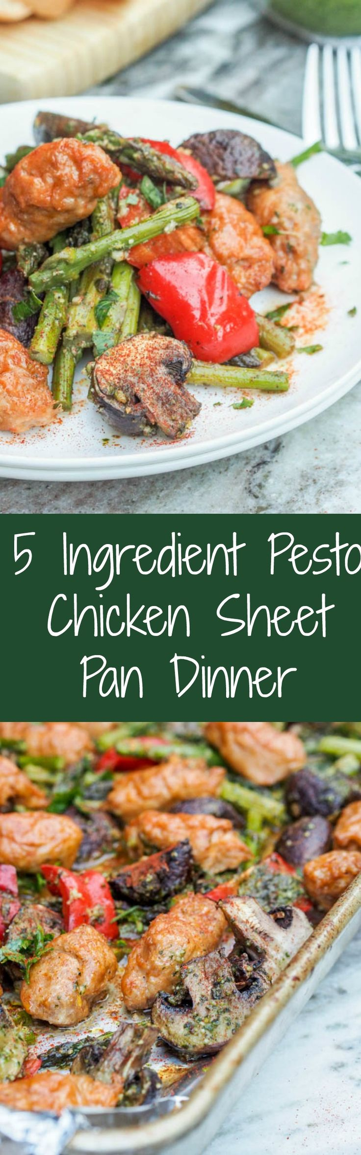 Looking for a healthy, low fuss minimal clean up weeknight dinner? Make this pesto chicken sheet pan dinner with veggies. Prep takes minutes with just a cutting board. Everything cooks together in the oven while you wait! Gluten Free and Dairy Free. | avocadopesto.com