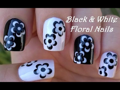 BLACK & WHITE FLORAL NAIL ART / LifeWorldWomen Collab Mimzie / Monochrome Nails - YouTube