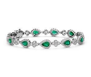 Emerald and Pavé Diamond Halo Bracelet in 18k White Gold #bluenile