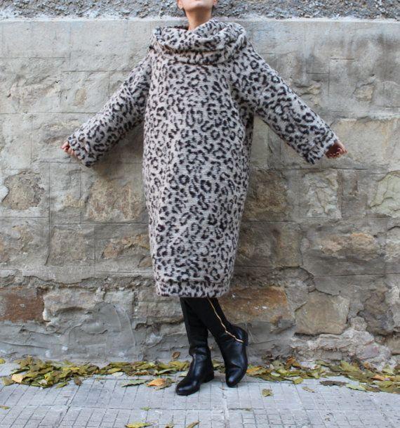 Beige Leopard Maxi dress, Jumper dress, Turtleneck dress, Hooded dress, Oversized dress, Wool dress,Fall Winter dress, Casual dress