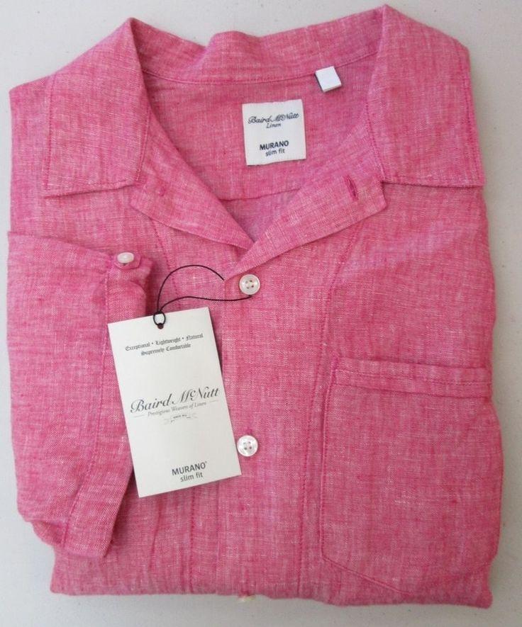 Braid McNutt Murano SLIM FIT S/S Buttondown Collared Wine Mens Linen Shirt NWT #MuranoBraidMcNutt #ButtonDown