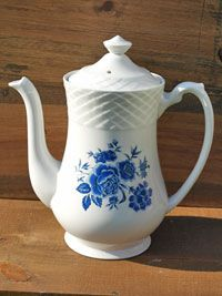 Blue Rose Enoch Wedgwood 1960s vintage coffee pot. Available to buy at www.ruralmagpie.co.uk