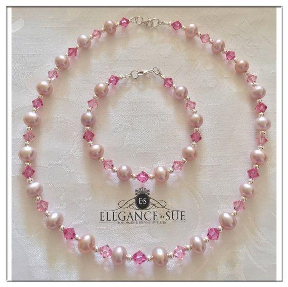 Pink Freshwater Pearl Necklace & Bracelet Set by ElegancebySue