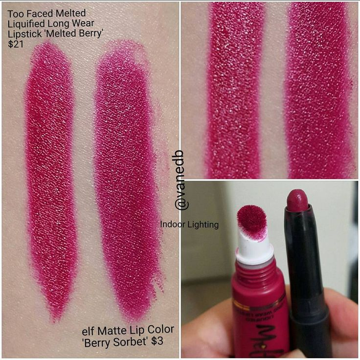 Too Faced Melted Berry lipstick dupe - ELF matte lip color in Berry Sorbet